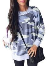Actloe Women Camo Long Sleeve Shirts Pullover Sweatshirts Casual Tops Blue Medium