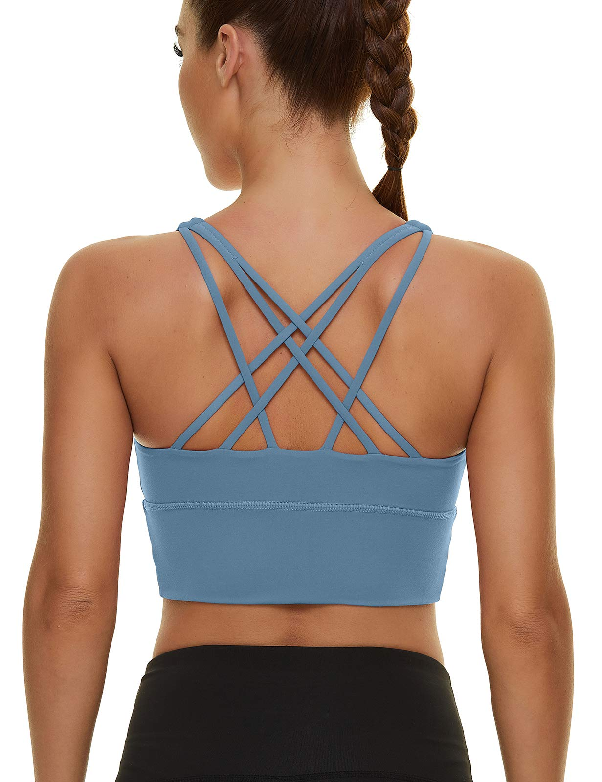 Womens Padded Longline Sports Bra Crop Tank Tops Strappy Workout Camisole Bras Support Yoga Top Gym Fitness Running Shirts
