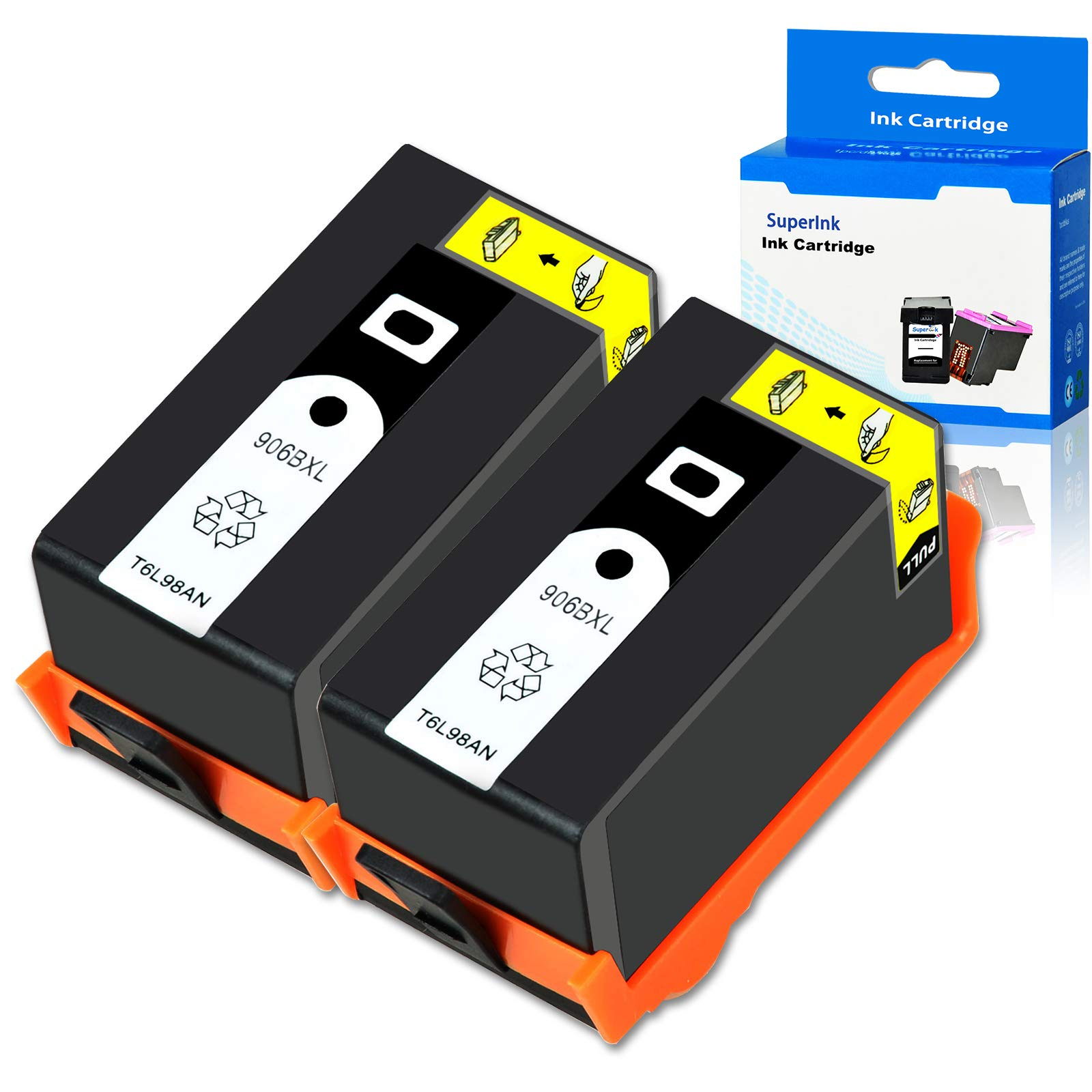 SuperInk Remanufactured Ink Cartridge Compatible for HP 906 XL 906XL T6L98AN with Chip use in OfficeJet Pro 6960 6968 6970 6974 6975 6978 All-in-One Printer (Large Black, 2-Pack)