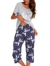 ENJOYNIGHT Women's Pajama Short Sleeve Sets Top with Capri Pants Sleepwear Sets Loungewear