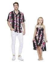 Matching Father Daughter Hawaiian Luau Cruise Outfit Shirt Dress Pink Black Hibiscus Vine Men S Girl 6