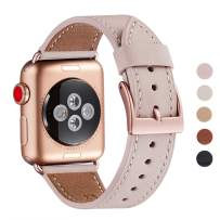 WFEAGL Compatible iWatch Band 40mm 38mm, Top Grain Leather Band with Gold Adapter (Same as Series 5/4/3 with Gold Aluminum Case in Color) for iWatch Series 5/4/3/2/1 (Pink Sand+Gold Buckle, 38mm 40mm)