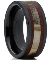 Men's Black Ceramic Ring Wedding Band with Real Antler and Koa Wood Inlay, Outdoor Hunting, Comfort Fit