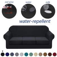 Granbest 4 Piece Premium Water-Repellent Sofa Slipcover for 3 Cushion Couch High Stretch Sofa Cover for 3 seat Sofa Super Soft Fabric Couch Cover for Dogs Pets Furniture Cover (Large, Black)