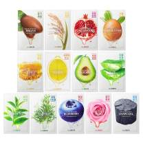[the SAEM] Natural Facial Mask Sheet 21ml 13 Pack - Korean Skincare Moisturizing and Nourishing Facial Mask Sheet Variety Combo Pack