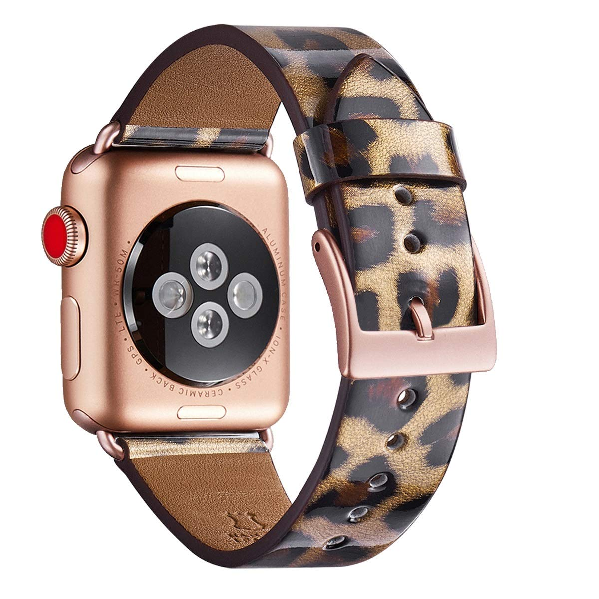 WFEAGL Compatible iWatch Band 38mm 40mm, Top Grain Leather Band with Gold Adapter (Same as Series 5/4/3 with Gold Aluminum Case in Color) for iWatch Series 5/4/3/2/1 (Leopard Band+Rose Gold Adapter)