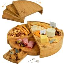 "Picnic at Ascot Patented Personalized Monogrammed Engraved Bamboo Cutting Board for Cheese & Charcuterie with Knives & Cheese Markers - Stores as a Compact Wedge - Opens to 18"" Diameter"