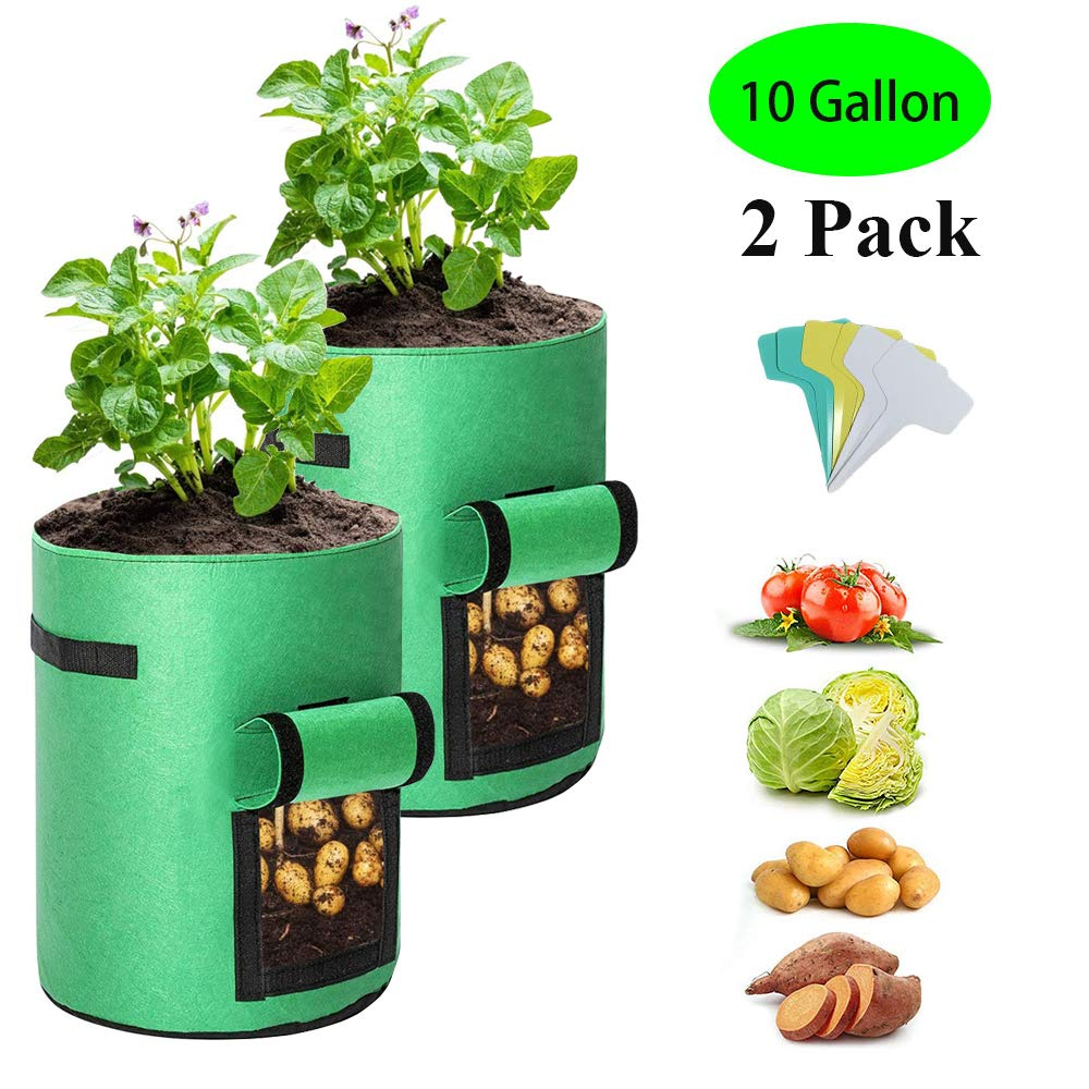 UrsoKuz 10 Gallon Plant Bags, 2 Pack Planting Pouch Breathable Non-Woven Fabric Grow Pot Garden Heavy Duty Plant Growing Bags with Handles and Access Window Green