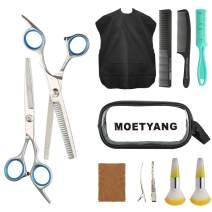 MOETYANG Professional Hair Cutting Scissors Set 12 Pcs Hairdressing Scissors Kit, Haircut Shears with Thinning Scissors Black Hairdressing Kit for Barber, Salon, Home