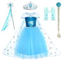 Party Chili Princess Costumes Birthday Dress Up for Little Girls with Crown,Mace,Gloves Accessories 3-12 Years