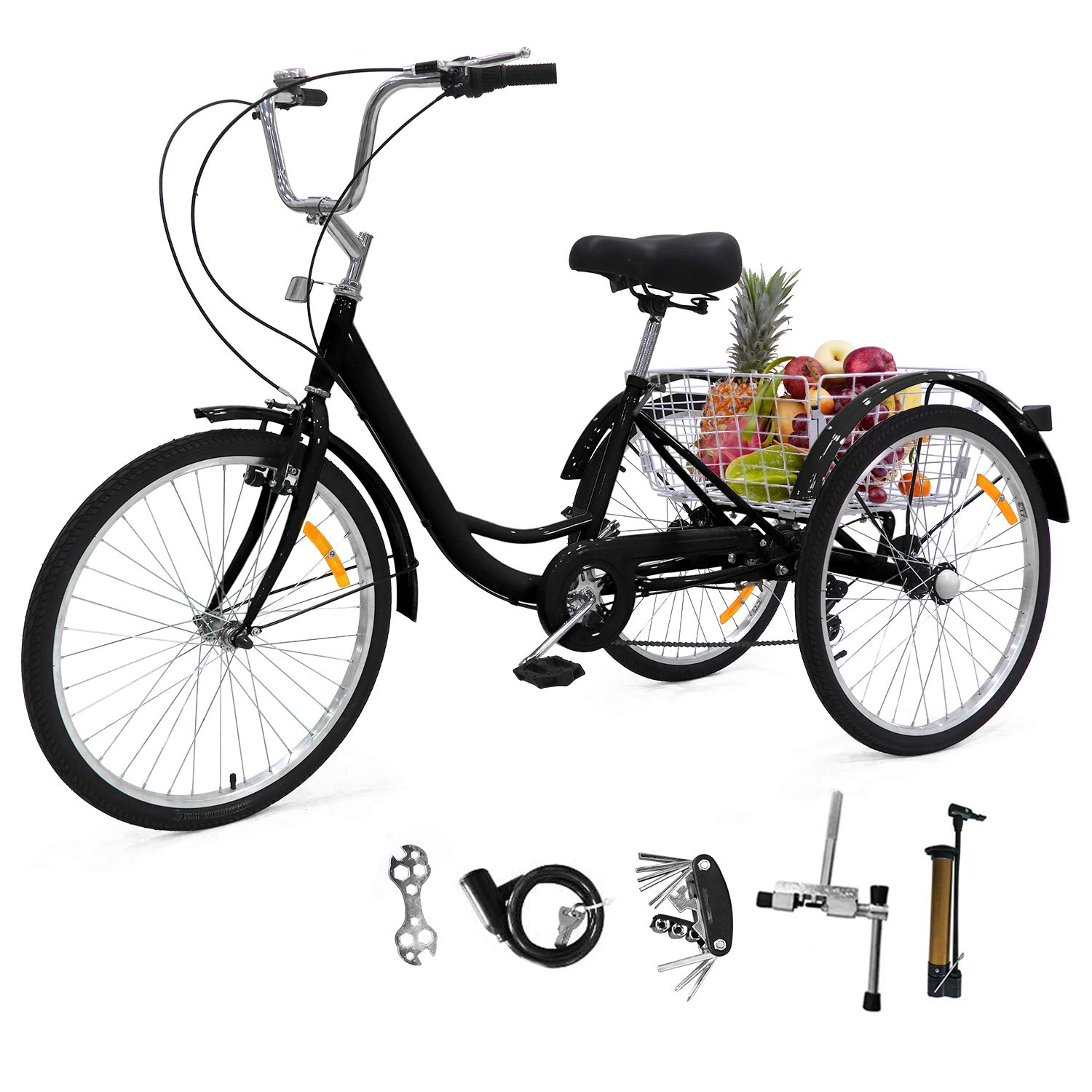 EOSAGA Adult Tricycles 7 Speed, Adult Trikes 24/26 inch 3 Wheel Bikes, Three-Wheeled Bicycles Cruise Trike for Recreation, Shopping with Basket
