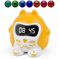 Kids Sleep Training Alarm Clocks, Baby Sleep Sound Machine with 9 Lullabies & White Noise, Outlet or Battery Operated Toddlers Time To Wake Clock for Home Travel, 7 Color Night Light,Dimmer,Nap,Timer