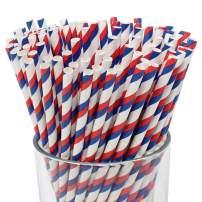 Just Artifacts 100pcs Decorative Striped Paper Straws (100pcs, Striped, Royal Blue & Red)