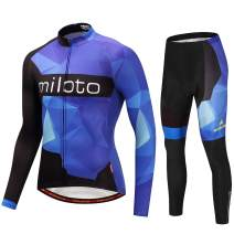 MILOTO Men's Cycling Jersey Set Long Sleeve Padded Pants Suit