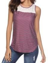 RIFESHOW Women's Summer Tops Sleeveless Striped Casual Shirt Tank Tops
