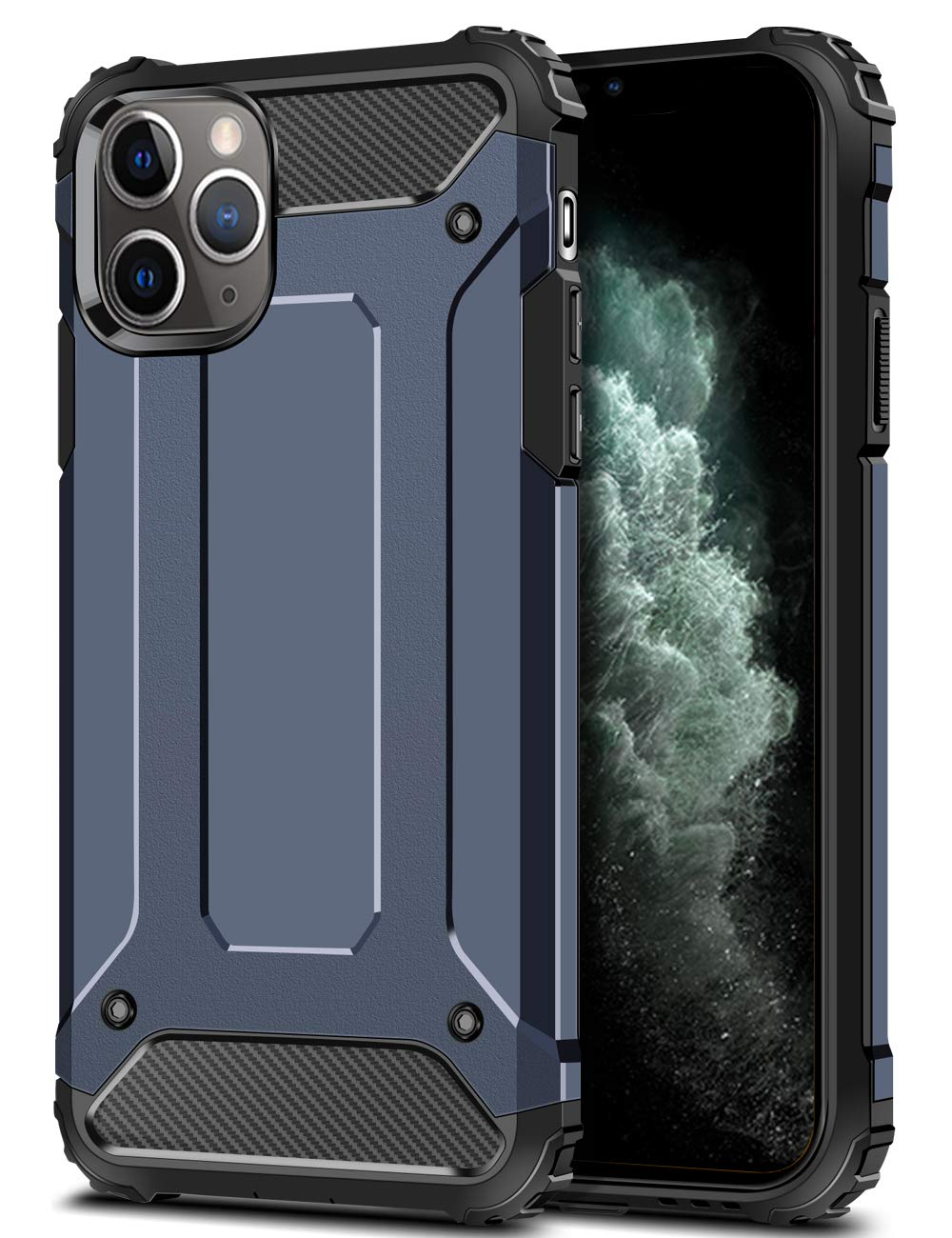 Wollony Armor Case for iPhone 11 Pro Max, Rugged Heavy Duty Hybrid Hard Impact Resistant Slim Phone Case Anti-Scratch Durable Cover for iPhone 11 Pro Max 6.5inch Support Wireless Charging (Deep Blue)