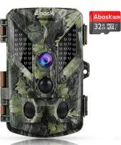 """Abask Trail Game Camera, 16MP 1080P Wildlife Hunting Camera with IP67 Waterproof, 3 Infrared Sensors 48Pcs LEDs Night Vision Motion Activated 2.4"""" LCD Screen with 32G Card"""