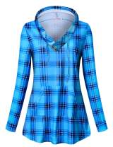 Tanst Sky Womens Long Sleeve Plaid Hoodie Sweatshirts Tunic with Pocket