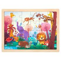 ROBUD Wooden Jigsaw Puzzles for Kids Ages 3+,Sturdy Wooden Tray,24-Piece Puzzles,Colorful Original Artwork,Preschool Puzzles Educational Learning Toys for Toddlers/Girls/Boys(Wonderful Forest)