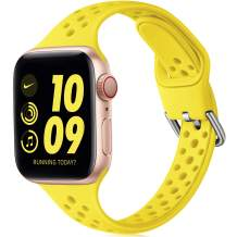 Henva Slim Breathable Band Compatible with Apple Watch SE 38mm 40mm for Women Girls, Soft Silicone Narrow Sport Band Compatible with iWatch Series 6 5 4 3 2 1, Yellow