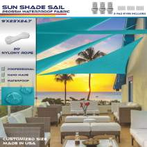 Windscreen4less Terylene Waterproof Sun Shade Sail UV Blocker Triangle Sunshade Patio Canopy Sail 9' x 23' x 24.7' in Color Turquoise Included Free Pad Eyes 260GSM - Customized Sizes