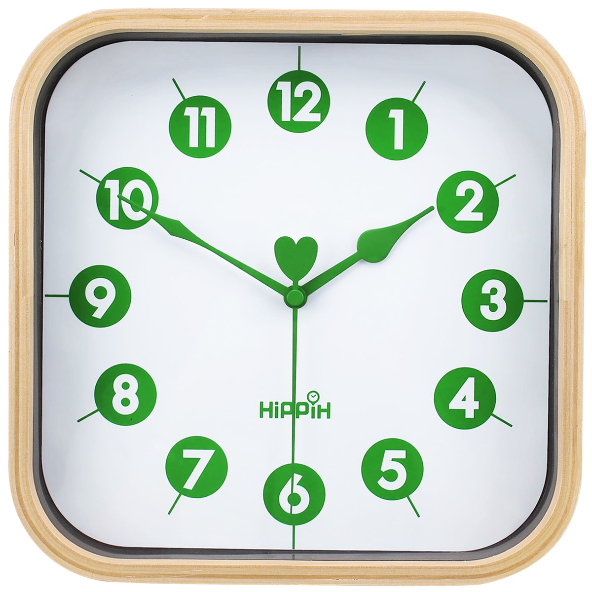 HIPPIH Wall Clocks Battery Operated Non Ticking 9 inch Digital Quiet Sweep Decorative Vintage Wooden Clocks for Bedroom Office Classroom Living Room