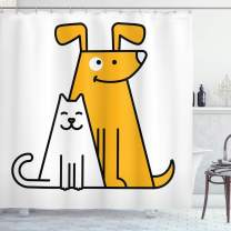 "Ambesonne Cartoon Shower Curtain, Cats and Dogs Human Best Friends Forever Kids Nursery Room Art Print, Cloth Fabric Bathroom Decor Set with Hooks, 75"" Long, Apricot White"