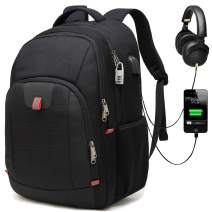 G-raphy Travel Laptop Backpack Business Backpack Waterproof for Laptops up to 17-inches with USB Charging Port (Black)