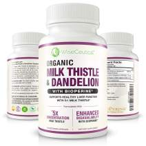 Max Absorption Organic Milk Thistle (Strongest 5:1 Concentrated Extract) & Organic Dandelion Root with BioPerine | Hangover Prevention & Relief - Liver Support and Alcohol Detox. 60 Veggie Capsules.
