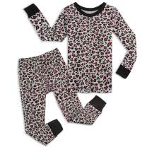 Mightly Girls' Snug-fit Pajamas, 2-Piece Organic Cotton Toddler and Kids Clothes Set