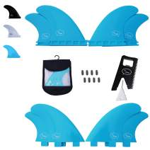 Ho Stevie! Fiberglass Reinforced Polymer Surfboard Fins - Quad (4 Fins) FCS or Futures Sizes, with Fin Bag, Screws, Wax Comb and Fin Key …