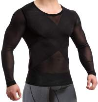 TAILONG Mens Compression Shirts Long Sleeve Baselayer Top Slimming Undershirts for Abs Abdomen Slim Body Shaper