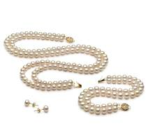 Liska White 6-7mm Double Strand AA Quality Freshwater Gold filled Cultured Pearl Set For Women