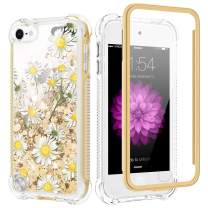 Caka iPod Touch 6 Case, iPod Touch 5th 6th 7th Glitter Case Bling Sparkle Girly Girls Women Liquid Fashion Flowing Bumper Cushion Protective Full Body TPU Chamomile Case for iPod Touch 5 6 7 (Daisy)