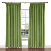 TWOPAGES 52 W x 63 L inch Pinch Pleat Darkening Drapes Faux Linen Curtains with Blackout Lining Drapery Panel for Living Room Bedroom Meetingroom Club Theater Patio Door (1 Panel),Green