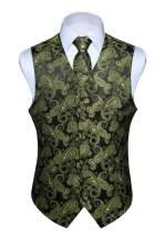HISDERN Men's Vest Tie Set Paisley Floral Jacquard Necktie Pocket Square Waistcoat for Wedding Party Suit or Tuxedo