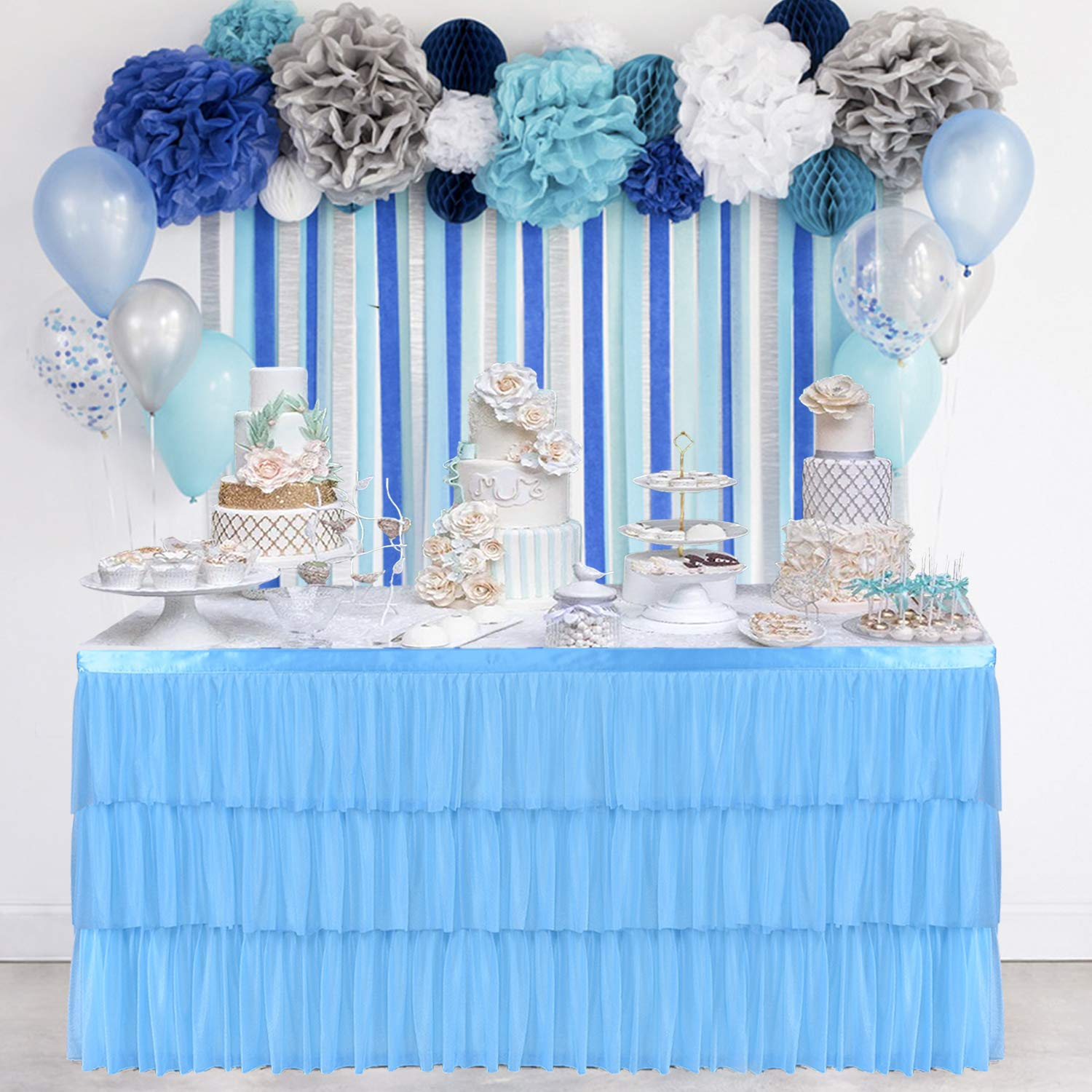 Blue 6ft Tulle Table Skirt 3 Tier Mesh Fluffy with Soft Dust Lining Table Tutu Skirting for Rectangular or Round Table for Birthday, Wedding Party Supplies and Special Occasion Decor(L72Inch×H30Inch)