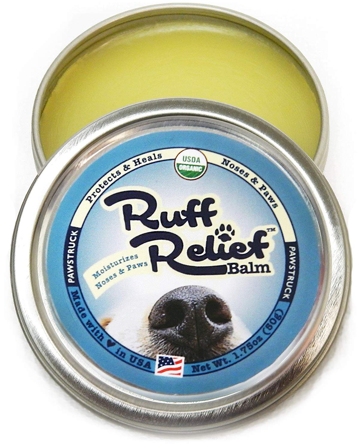 Organic Nose & Paw Wax Balm for Dogs   100% Natural, Made in USA, USDA Certified Soother   Snout & Foot Pad Ointment Cream Moisturizer for Dry Cracked K9 or Puppy Skin   Ruff Relief Paw Protection