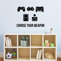 """Vinyl Wall Art Decal - Choose Your Weapon - 22"""" x 29.5"""" - Modern Cute Funny Quote Sticker Video Game Controller Shapes for Kids Room Home Boys Girls Bedroom Playroom Nursery Decor (Black)"""