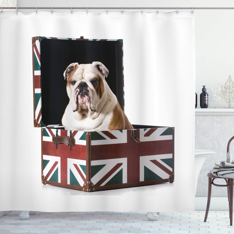 "Ambesonne English Bulldog Shower Curtain, Bulldog Sitting in Union Jack Britain Themed Box Patriotic Design, Cloth Fabric Bathroom Decor Set with Hooks, 75"" Long, Red Blue"