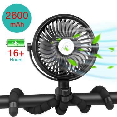 Portable Rechargeable LED Light Fan Mini Desk USB Fan with 2600 mAh Battery