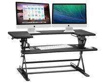 Halter ED-600 Preassembled Height Adjustable Desk Sit to Stand Elevating Desktop - Gas Spring Riser Workstation - Black