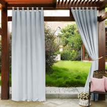PONY DANCE Outdoor Curtain for Patio - Tab Top Light Blocking Curtains Drapes UV Protection Waterproof Garden Shade, 52 Wide by 108-inch Long, Greyish White, 1 Piece