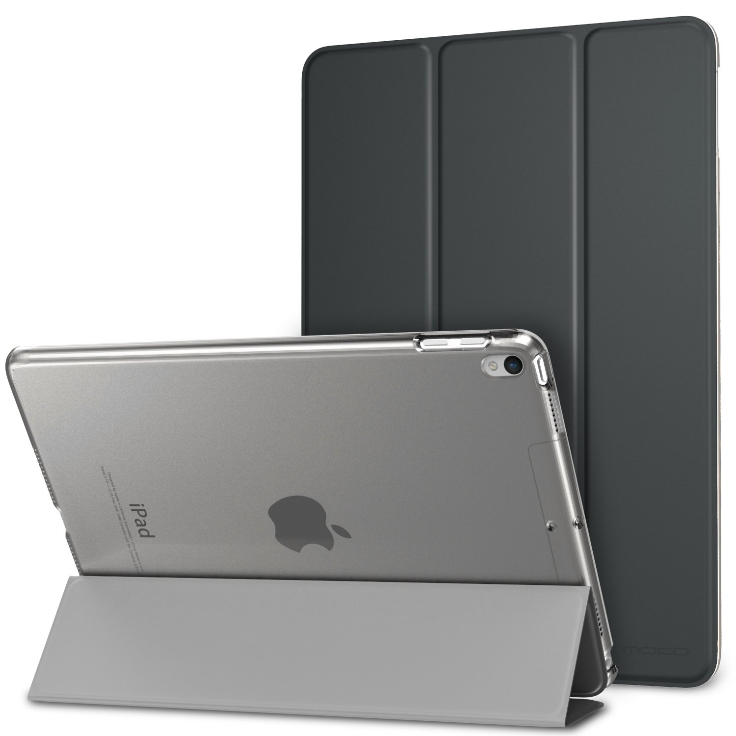 """MoKo Case Fit New iPad Air (3rd Generation) 10.5"""" 2019/iPad Pro 10.5 2017 - Slim Lightweight Smart Shell Stand Cover with Translucent Frosted Back Protector - Space Gray (Auto Wake/Sleep)"""