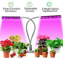 JCBritw 75W Plant Light Dimmable LED Grow Light Auto ON & Off Timer Dual Head Clip On Desk Stand Full Spectrum Growing Lamp Veg Bloom with UV IR for Indoor Plants