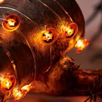 Lights4fun, Inc. 20 Halloween Pumpkin Battery Operated Micro LED Silver Wire String Lights