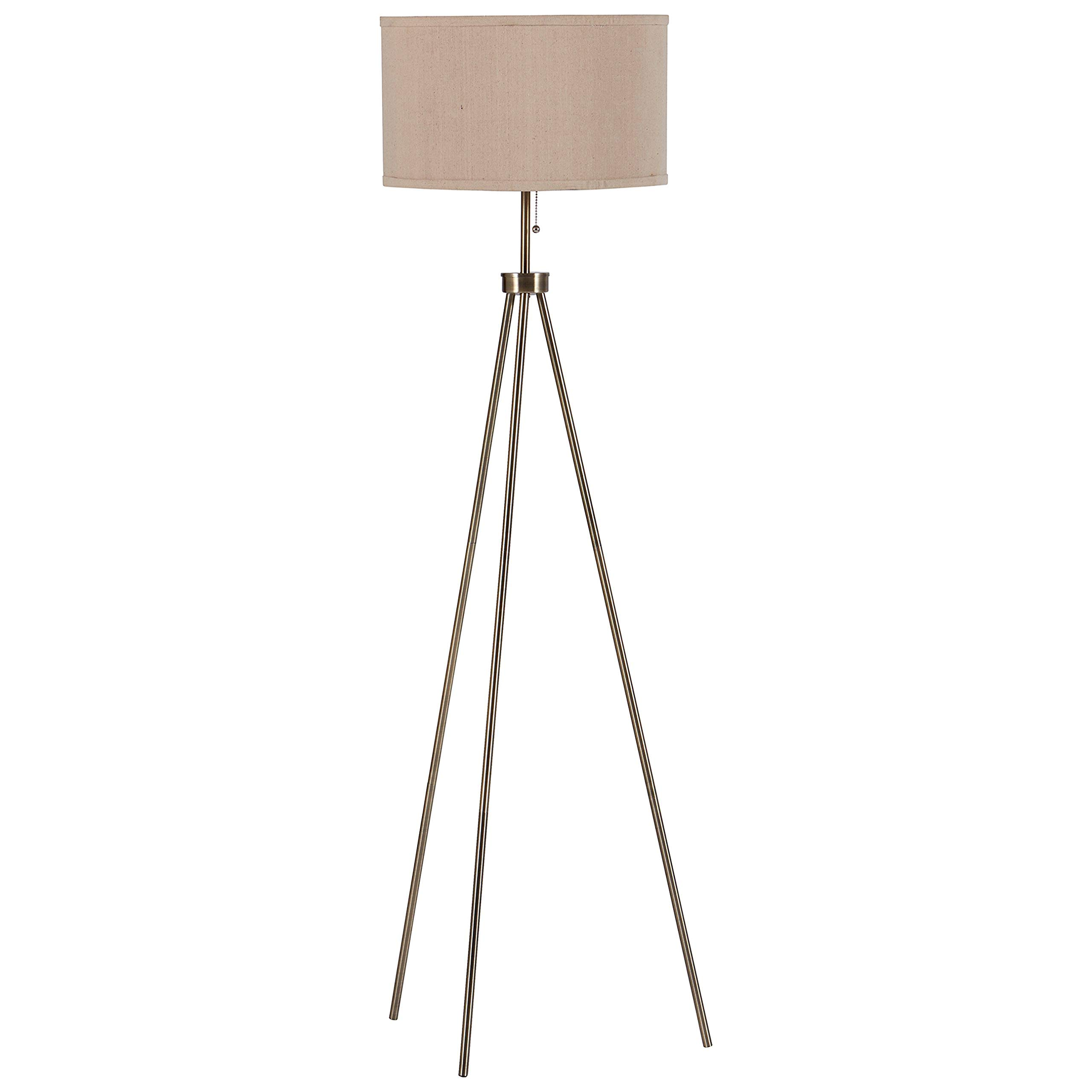 """Rivet Mid-Century Modern Tripod Living Room Decor Floor Lamp With Light Bulb And Drum Shade, 58.25""""H, Antique Brass"""