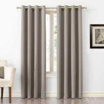 "Sun Zero Easton Blackout Energy Efficient Grommet Curtain Panel, 54"" x 84"", Stone"