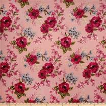 Fabric Techno Scuba Knit English Floral Garden Fabric, Blush/Coral, Fabric By The Yard