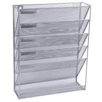 Easepres File Organizer Mesh 5-Tier Black Hanging File Organizer Vertical Holder Rack for Office Home, Silver